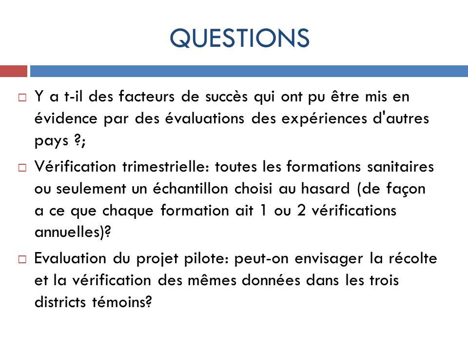QUESTIONS Y a t-il des facteurs de succès qui ont pu être mis en évidence par des évaluations des expériences d autres pays ;