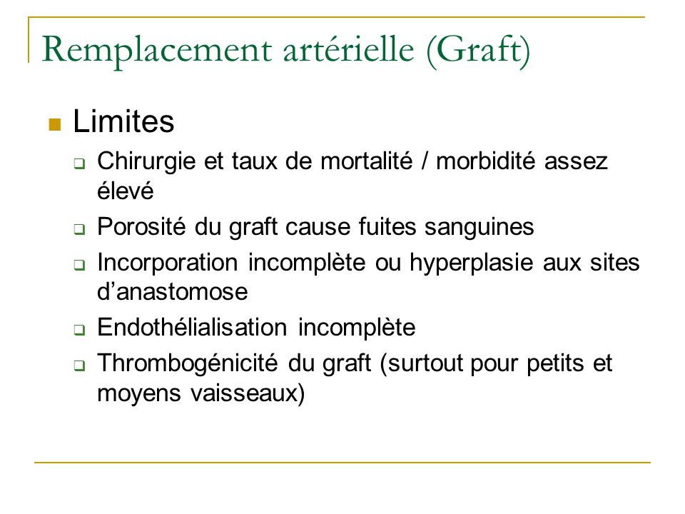 Remplacement artérielle (Graft)