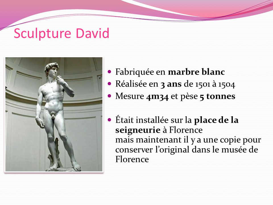 Sculpture David Fabriquée en marbre blanc