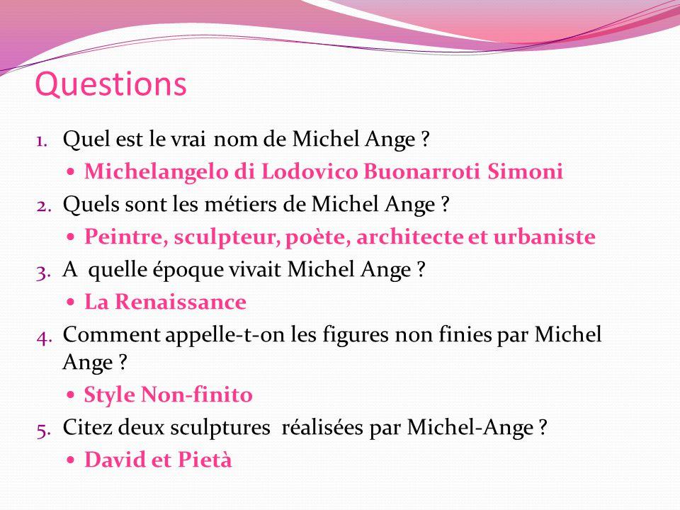 Questions Quel est le vrai nom de Michel Ange