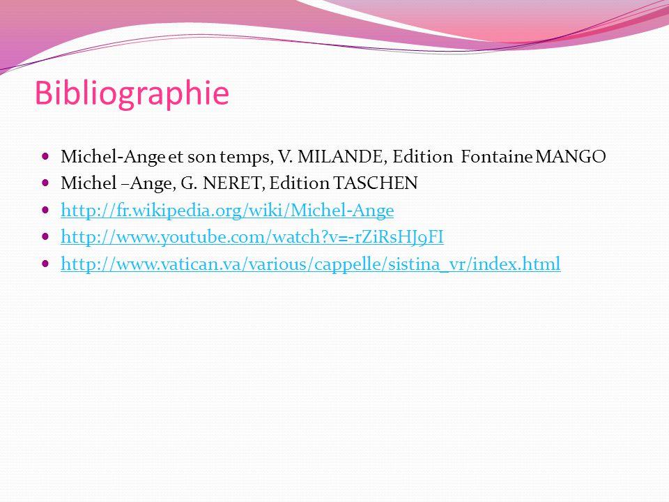 Bibliographie Michel-Ange et son temps, V. MILANDE, Edition Fontaine MANGO. Michel –Ange, G. NERET, Edition TASCHEN.