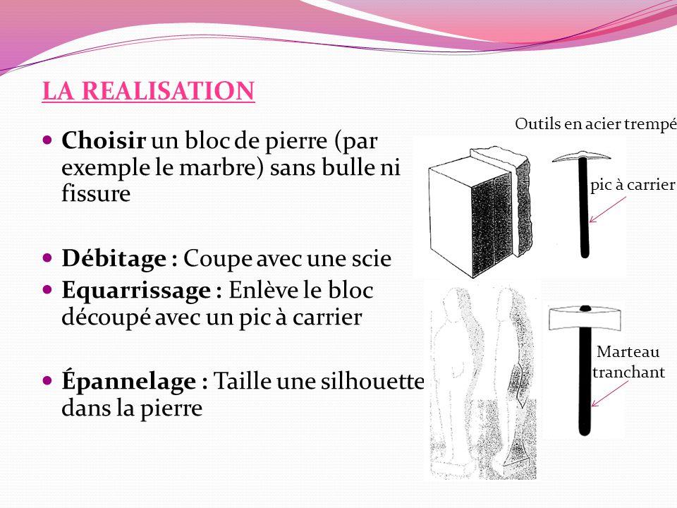 LA REALISATION Outils en acier trempé. Choisir un bloc de pierre (par exemple le marbre) sans bulle ni fissure.