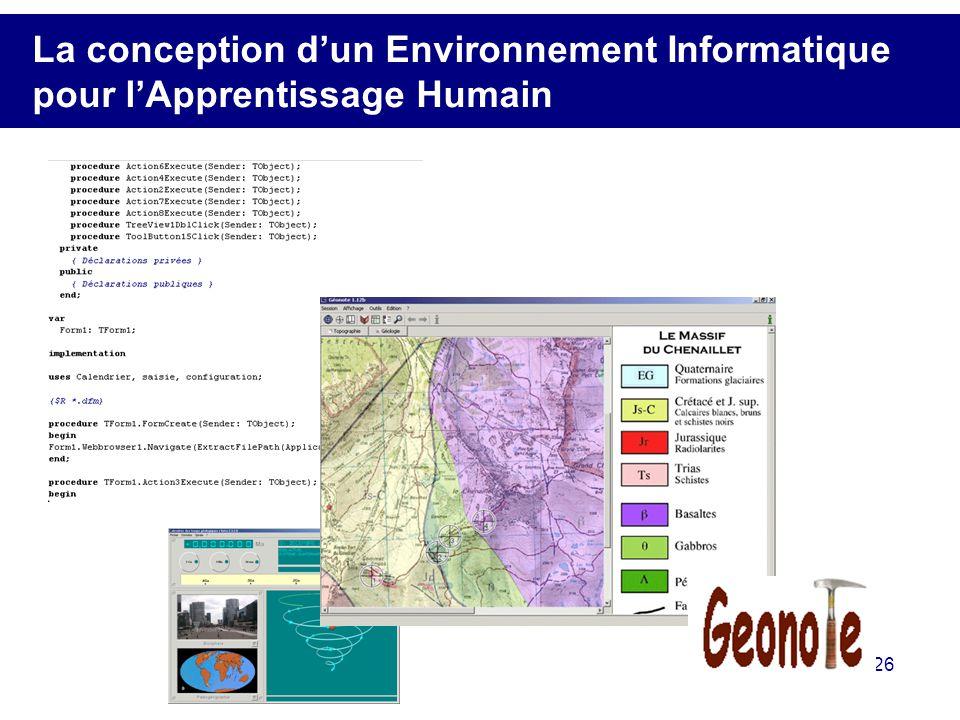 La conception d'un Environnement Informatique pour l'Apprentissage Humain