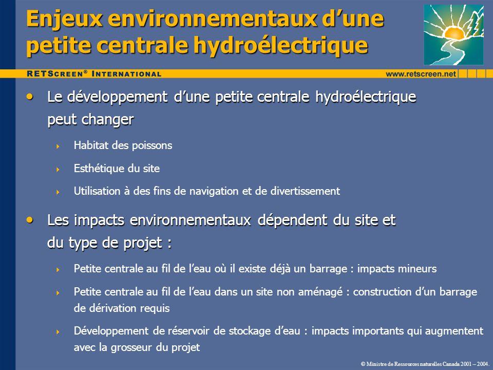 Enjeux environnementaux d'une petite centrale hydroélectrique