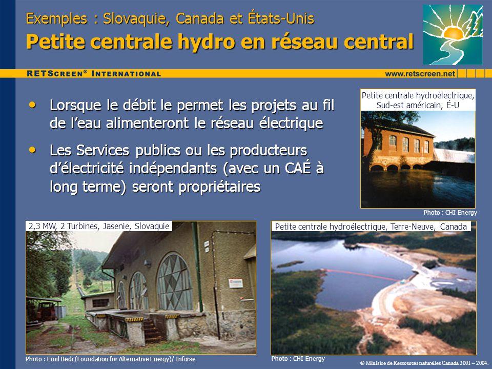 Exemples : Slovaquie, Canada et États-Unis Petite centrale hydro en réseau central