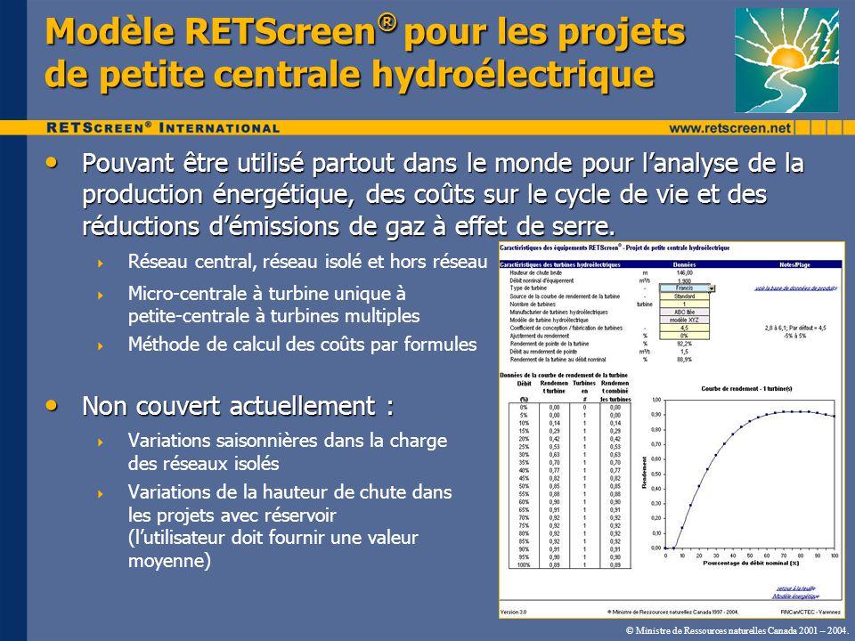 Modèle RETScreen® pour les projets de petite centrale hydroélectrique