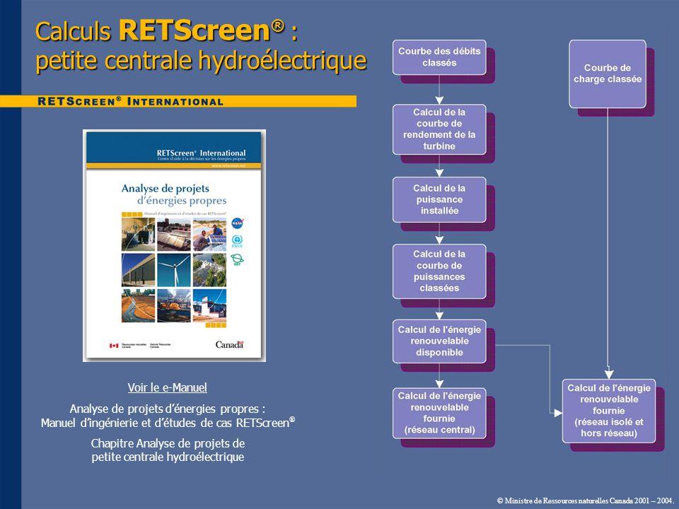 Calculs RETScreen® : petite centrale hydroélectrique