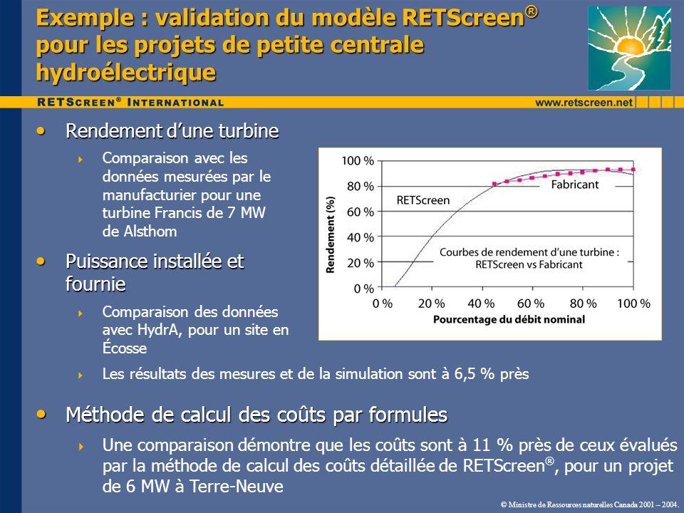 Exemple : validation du modèle RETScreen® pour les projets de petite centrale hydroélectrique