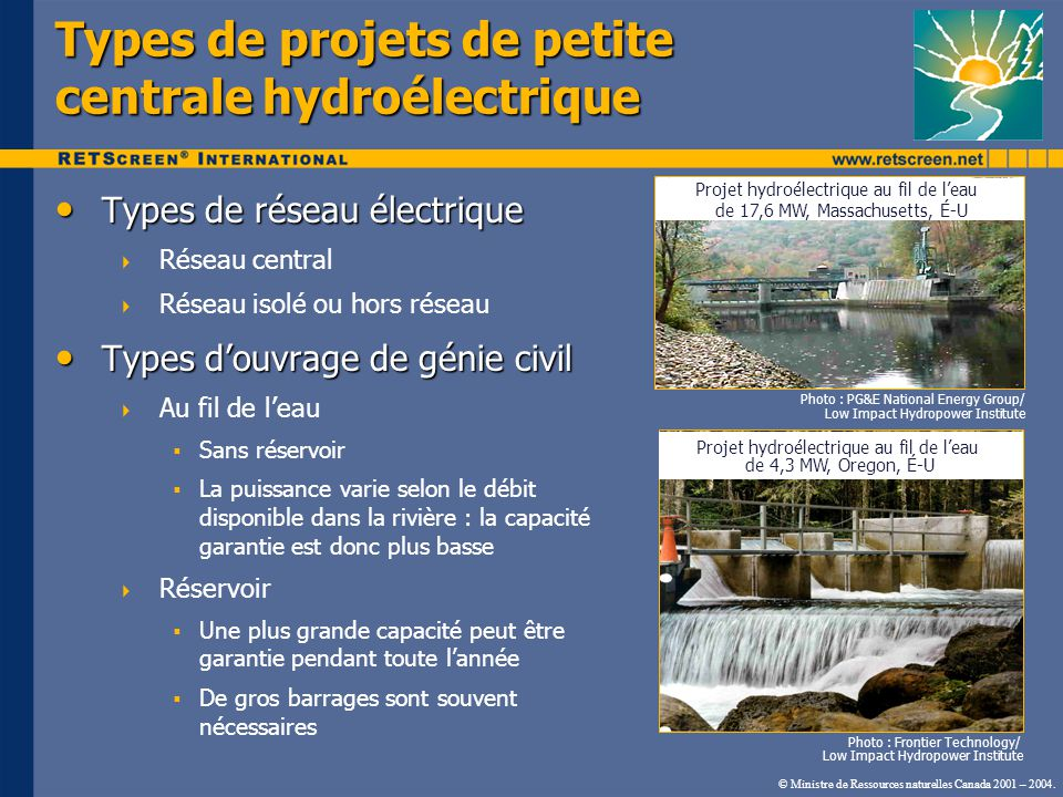 Types de projets de petite centrale hydroélectrique