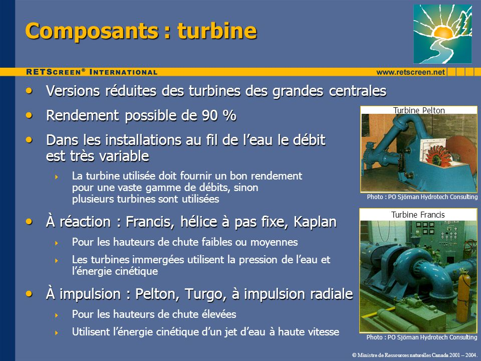 Composants : turbine Versions réduites des turbines des grandes centrales. Rendement possible de 90 %