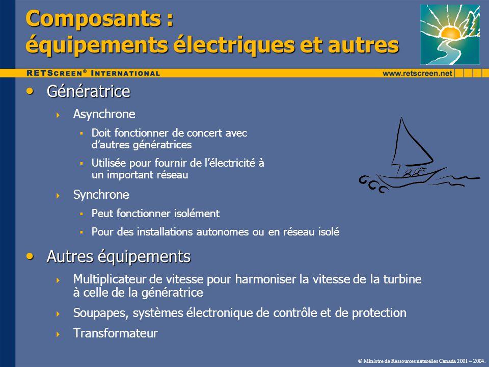 Composants : équipements électriques et autres