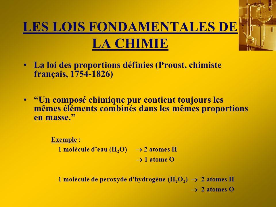 LES LOIS FONDAMENTALES DE LA CHIMIE