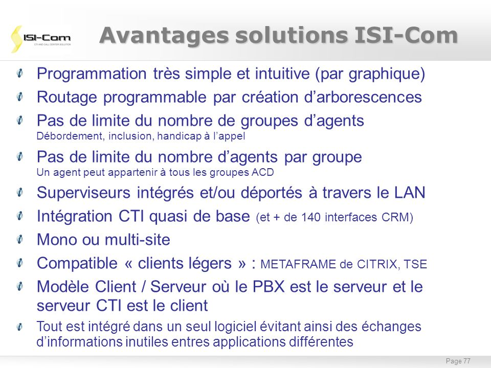 Avantages solutions ISI-Com