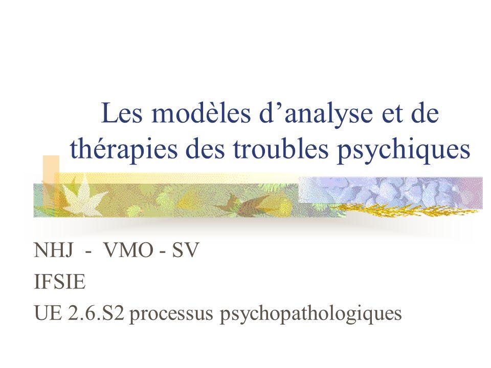 Les modèles d'analyse et de thérapies des troubles psychiques