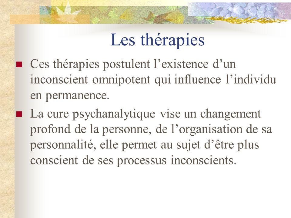 Les thérapies Ces thérapies postulent l'existence d'un inconscient omnipotent qui influence l'individu en permanence.