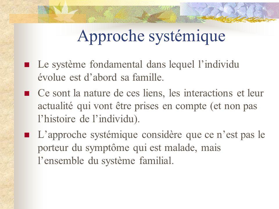 Approche systémique Le système fondamental dans lequel l'individu évolue est d'abord sa famille.