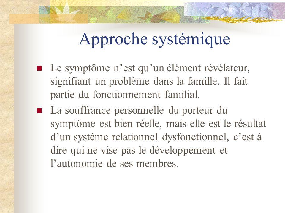 Approche systémiqueLe symptôme n'est qu'un élément révélateur, signifiant un problème dans la famille. Il fait partie du fonctionnement familial.