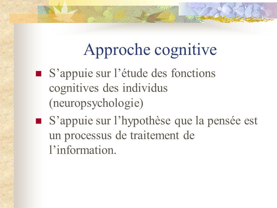 Approche cognitive S'appuie sur l'étude des fonctions cognitives des individus (neuropsychologie)