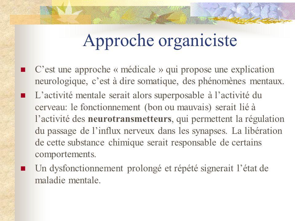 Approche organiciste C'est une approche « médicale » qui propose une explication neurologique, c'est à dire somatique, des phénomènes mentaux.