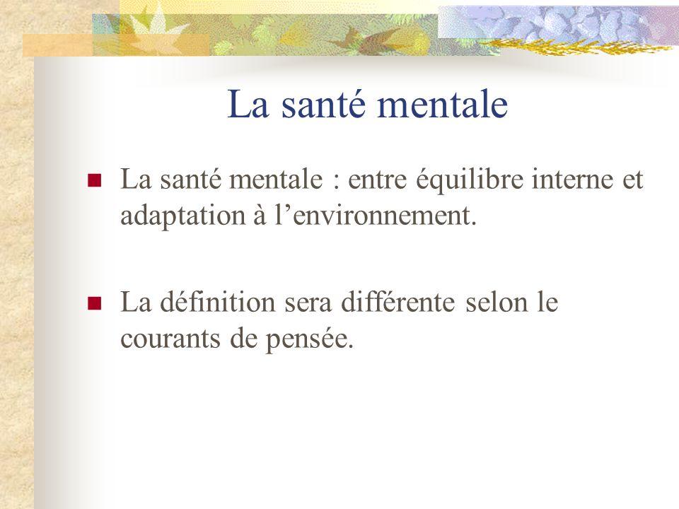La santé mentale La santé mentale : entre équilibre interne et adaptation à l'environnement.