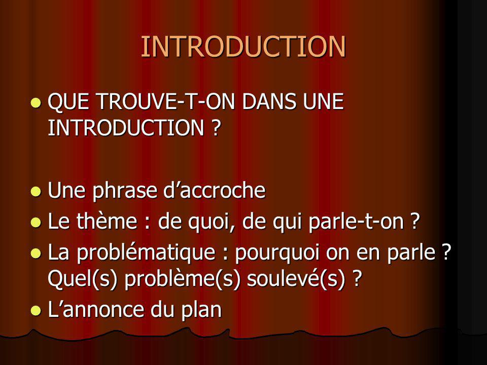 INTRODUCTION QUE TROUVE-T-ON DANS UNE INTRODUCTION