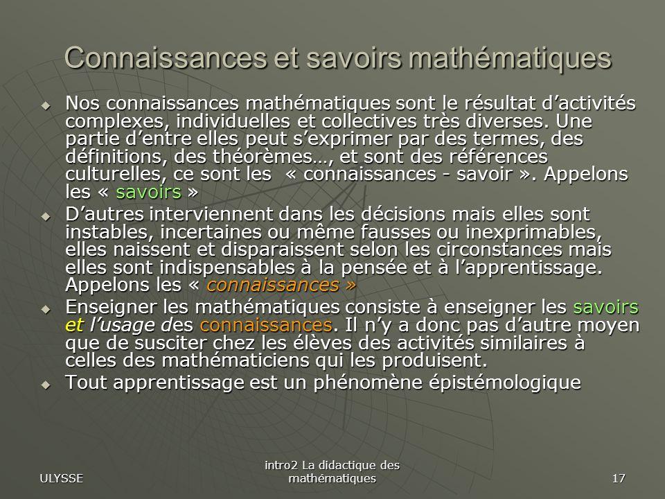 Connaissances et savoirs mathématiques