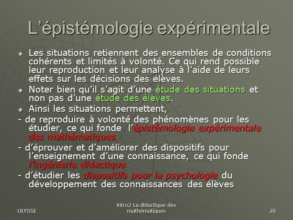 L'épistémologie expérimentale