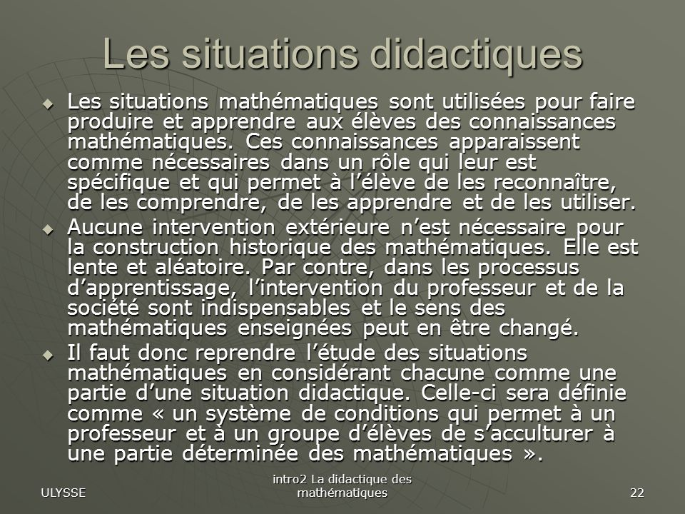 Les situations didactiques