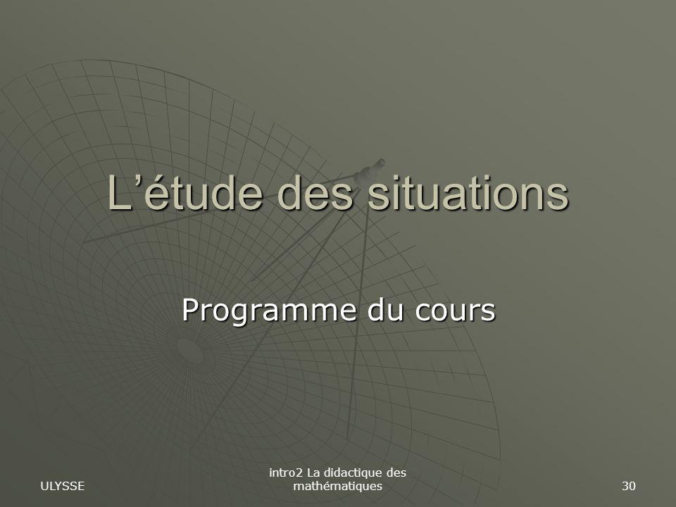 L'étude des situations