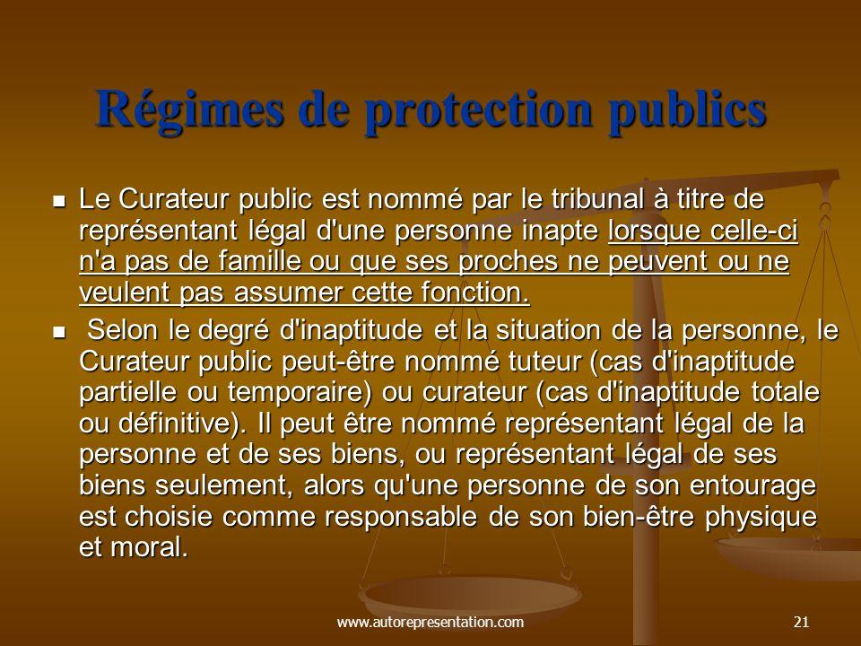 Régimes de protection publics