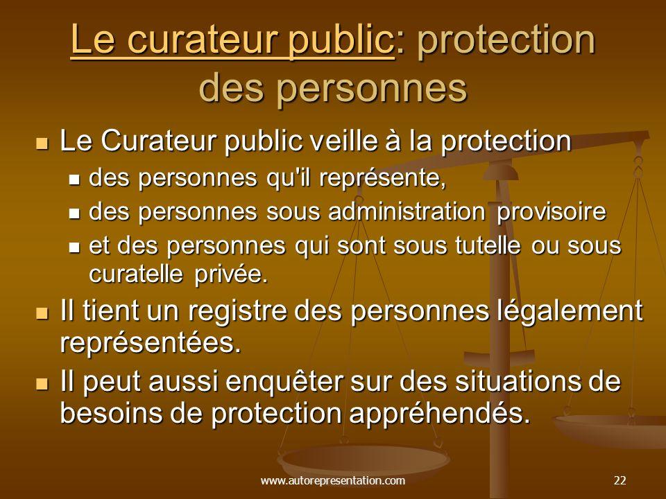 Le curateur public: protection des personnes