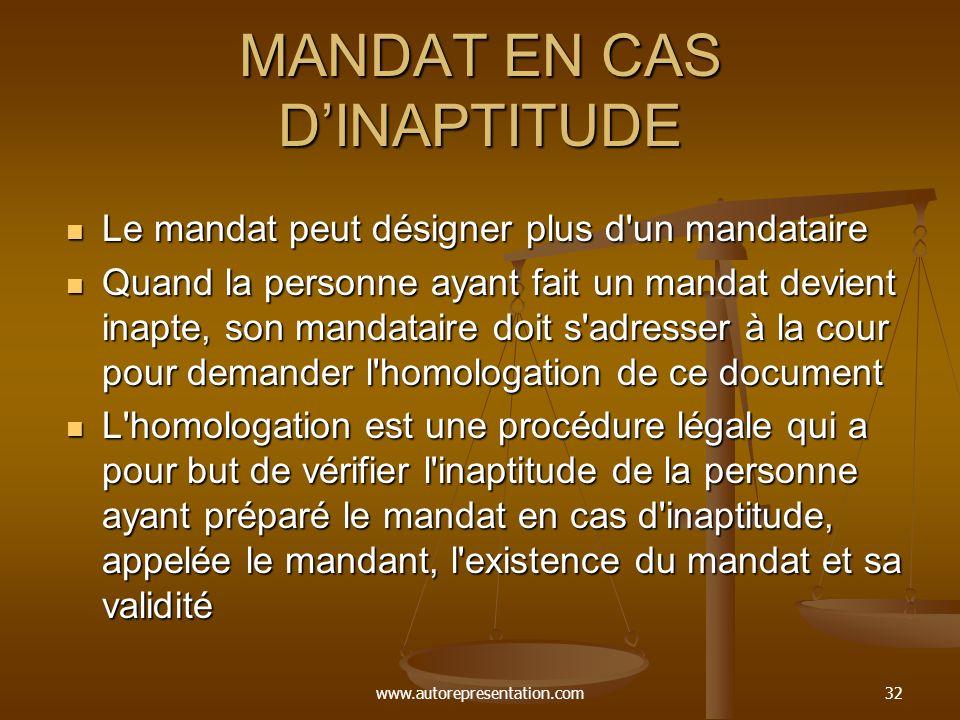 MANDAT EN CAS D'INAPTITUDE