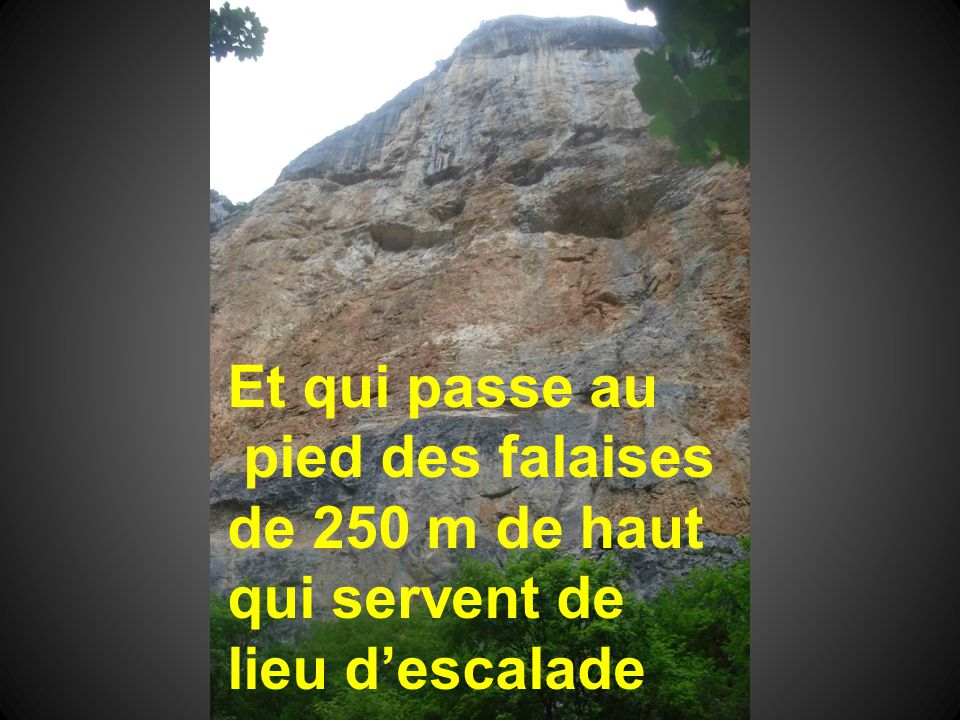 Et qui passe au pied des falaises de 250 m de haut qui servent de lieu d'escalade