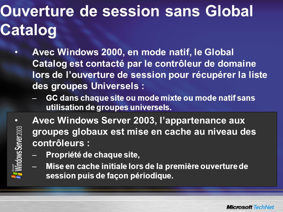 Ouverture de session sans Global Catalog
