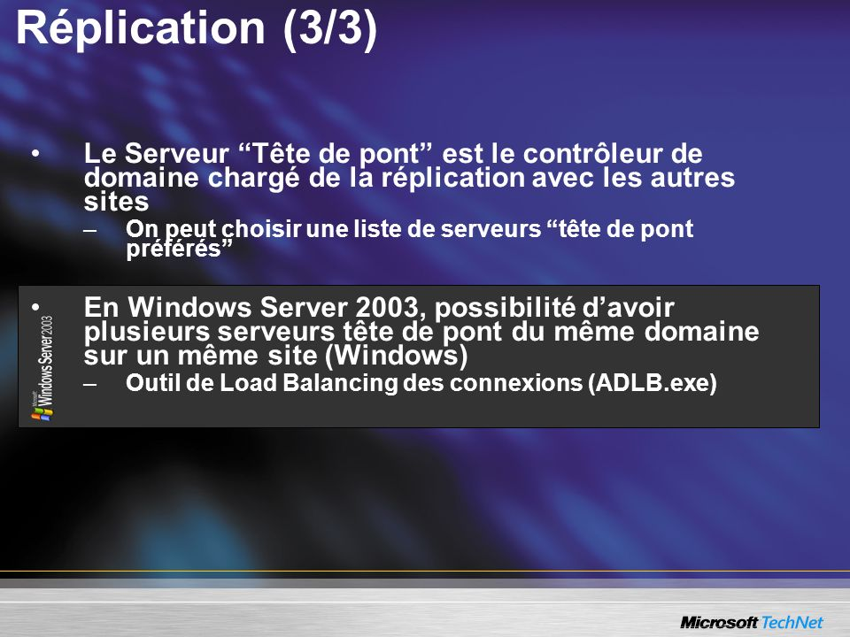 Réplication (3/3) Le Serveur Tête de pont est le contrôleur de domaine chargé de la réplication avec les autres sites.