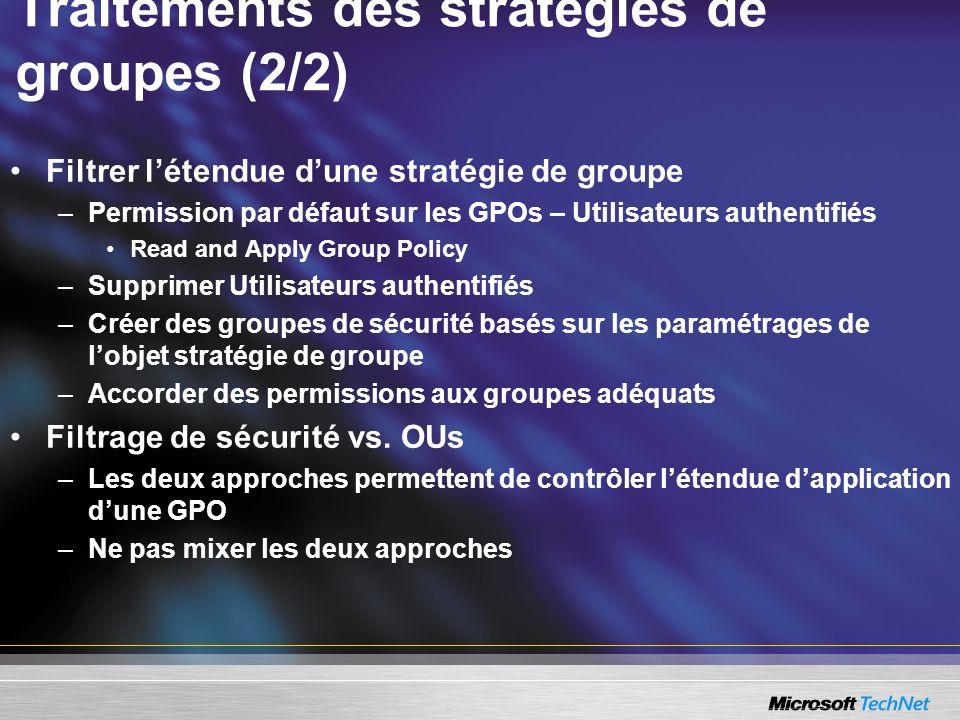 Traitements des stratégies de groupes (2/2)