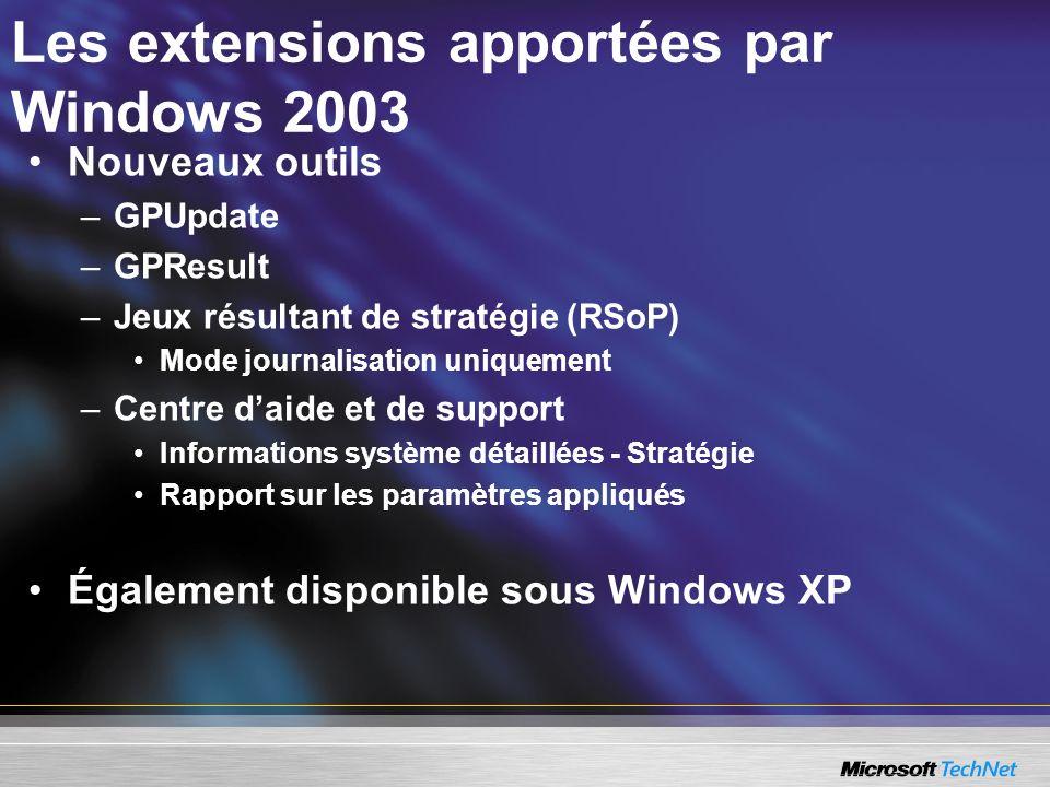 Les extensions apportées par Windows 2003