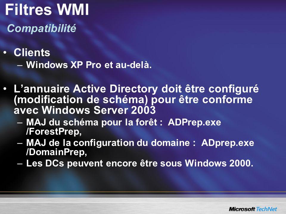 Filtres WMI Compatibilité Clients
