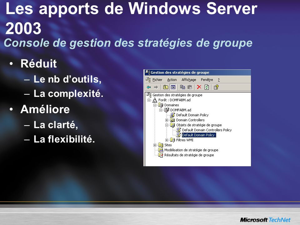 Les apports de Windows Server 2003