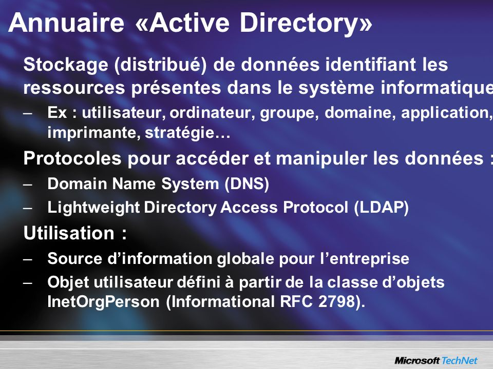 Annuaire «Active Directory»