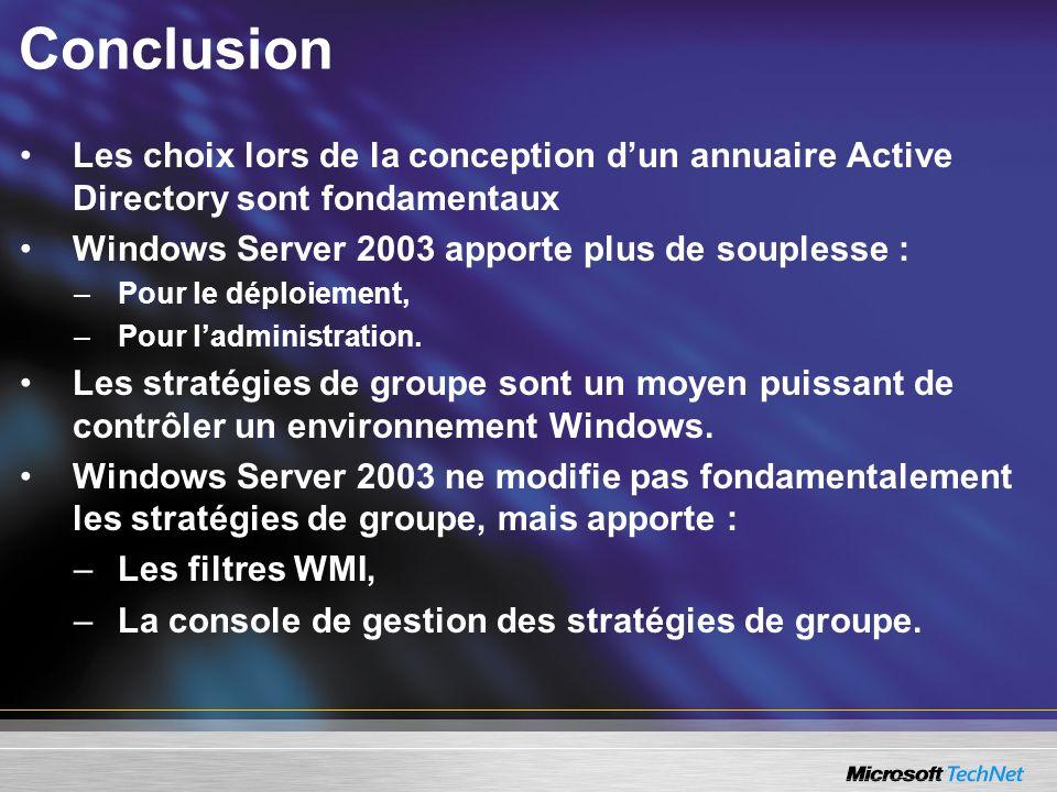 Conclusion Les choix lors de la conception d'un annuaire Active Directory sont fondamentaux. Windows Server 2003 apporte plus de souplesse :