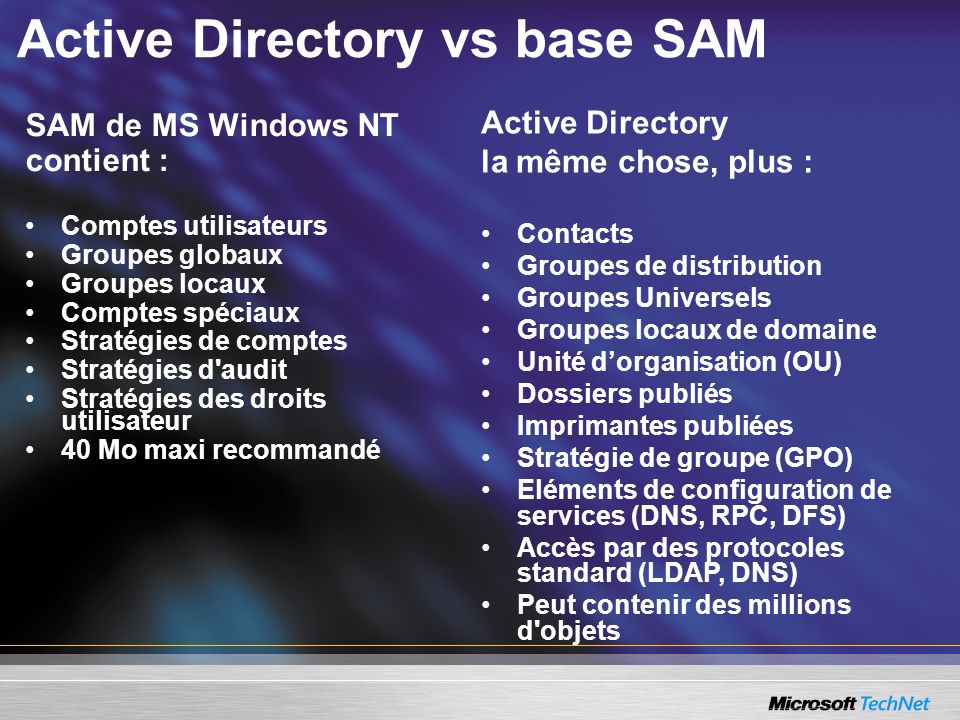 Active Directory vs base SAM