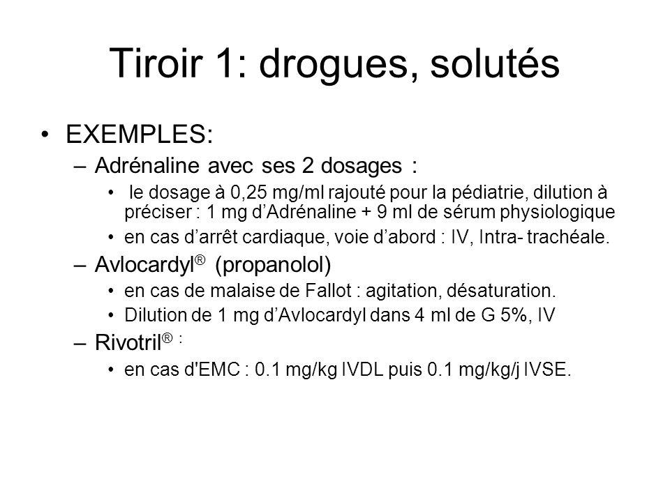 Tiroir 1: drogues, solutés