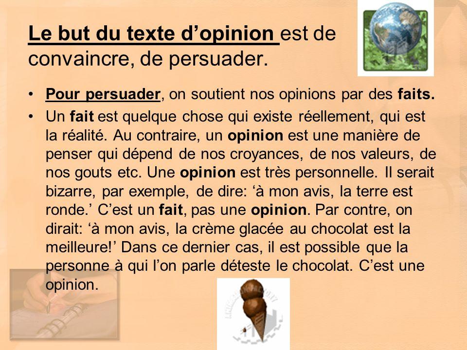 Le but du texte d'opinion est de convaincre, de persuader.