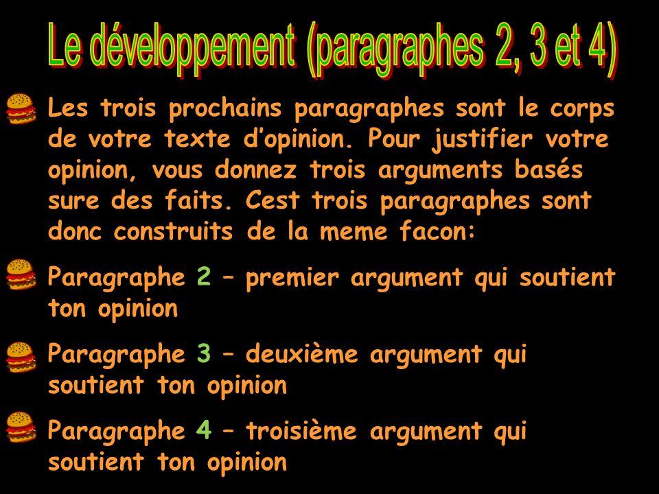 Le développement (paragraphes 2, 3 et 4)