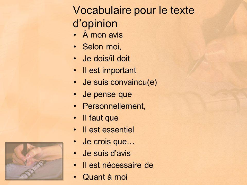 Vocabulaire pour le texte d'opinion