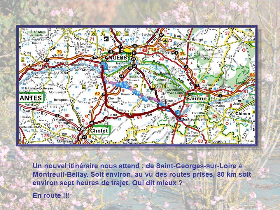 Un nouvel itinéraire nous attend : de Saint-Georges-sur-Loire à Montreuil-Bellay. Soit environ, au vu des routes prises, 80 km soit environ sept heures de trajet. Qui dit mieux
