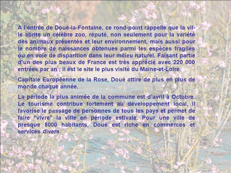 A l'entrée de Doué-la-Fontaine, ce rond-point rappelle que la vil-le abrite un célèbre zoo, réputé, non seulement pour la variété des animaux présentés et leur environnement, mais aussi pour le nombre de naissances obtenues parmi les espèces fragiles ou en voie de disparition dans leur milieu naturel. Faisant partie d'un des plus beaux de France est très apprécié avec 220 000 entrées par an ; il est le site le plus visité du Maine-et-Loire.