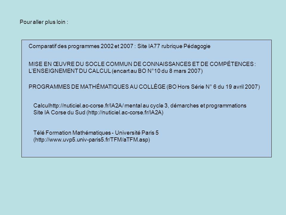 Pour aller plus loin : Comparatif des programmes 2002 et 2007 : Site IA77 rubrique Pédagogie.
