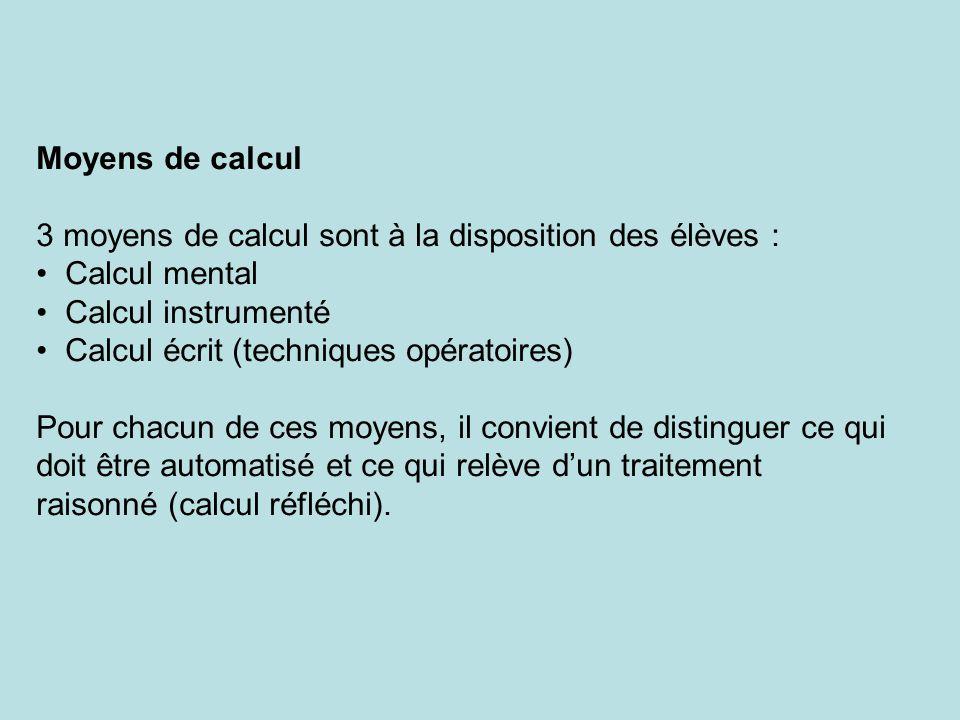 Moyens de calcul 3 moyens de calcul sont à la disposition des élèves : Calcul mental. Calcul instrumenté.